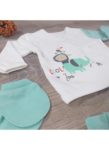 POKY Nonna Baby-5552 Erkek Bebek Yenidoğan Cool Zoo Detaylı %100 Pamuklu 5'Li Hastane Çıkışı Yeşil